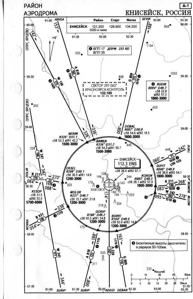 Схемы аэродрома Енисейск/UNII.
