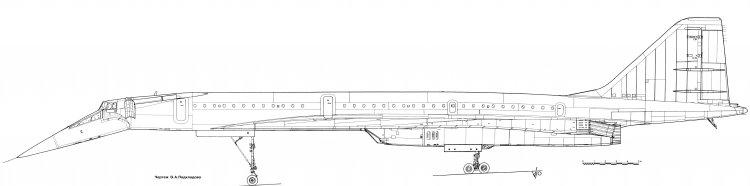 Чертеж ТУ-144 (дв. НК-144А).