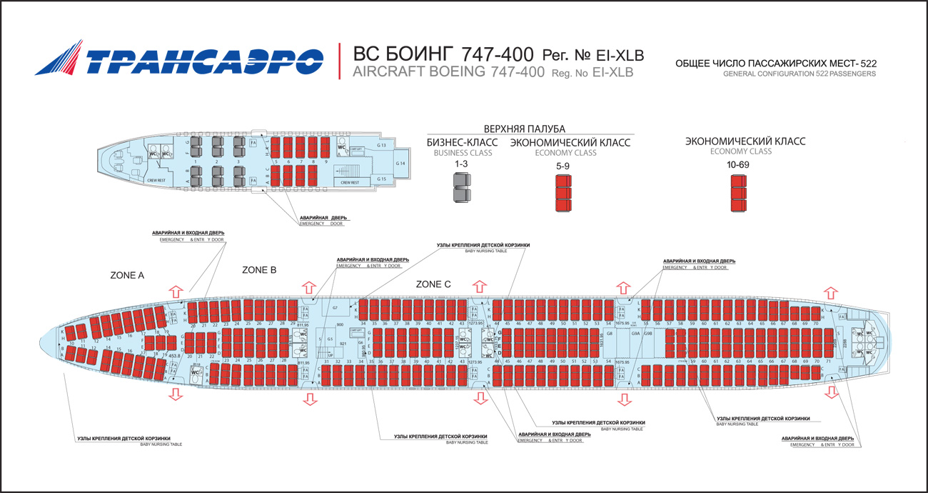 Transaero airlines aircraft seating charts airline seating layout maps and seat row charts.
